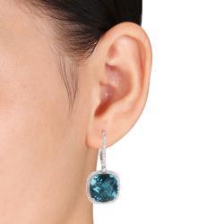 Miadora 14k White Gold Blue Topaz and 7/8ct TDW Diamond Earrings (H-I, SI1-SI2) - Thumbnail 2