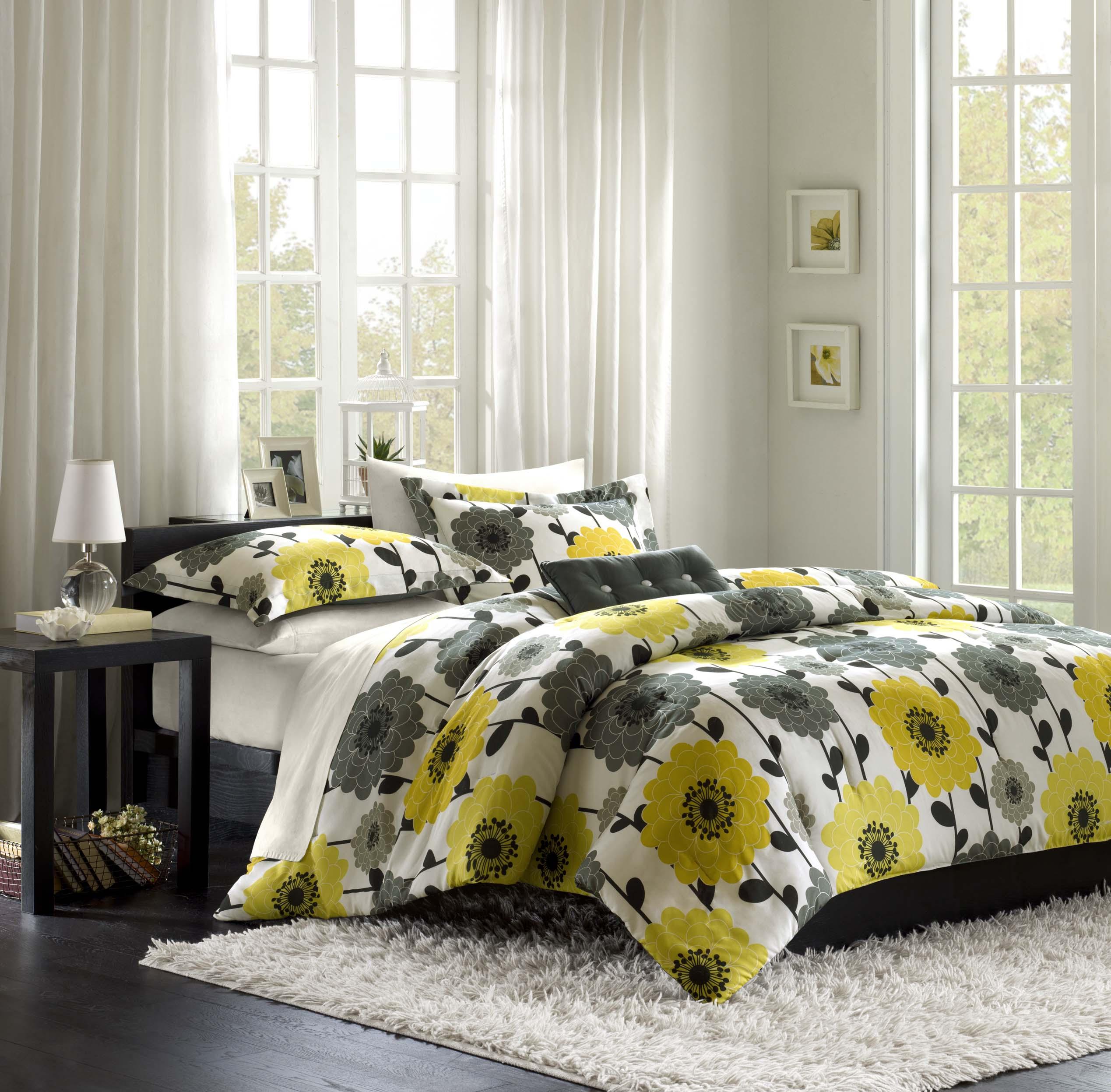 Overstock Com Tips Ideas: Mi Zone Blythe Yellow 4-piece Full/ Queen-size Comforter