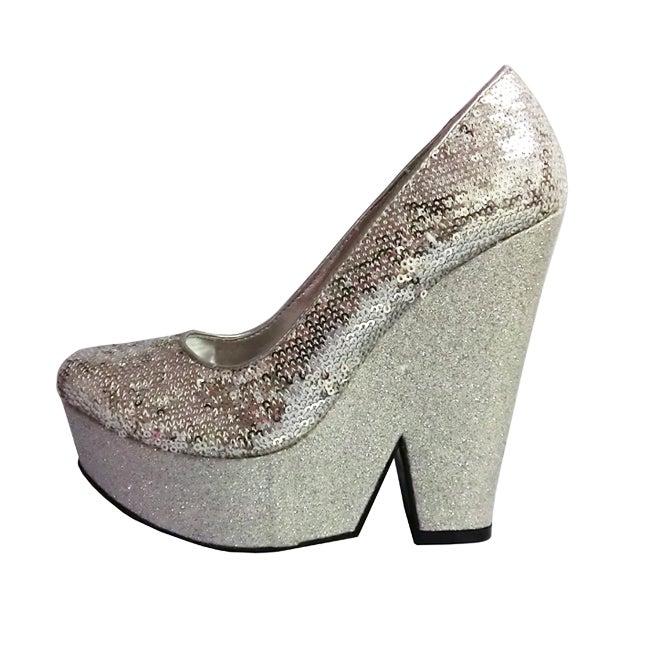 Fahrenheit Women's 'Gemma-01' Silver Wedge Platforms