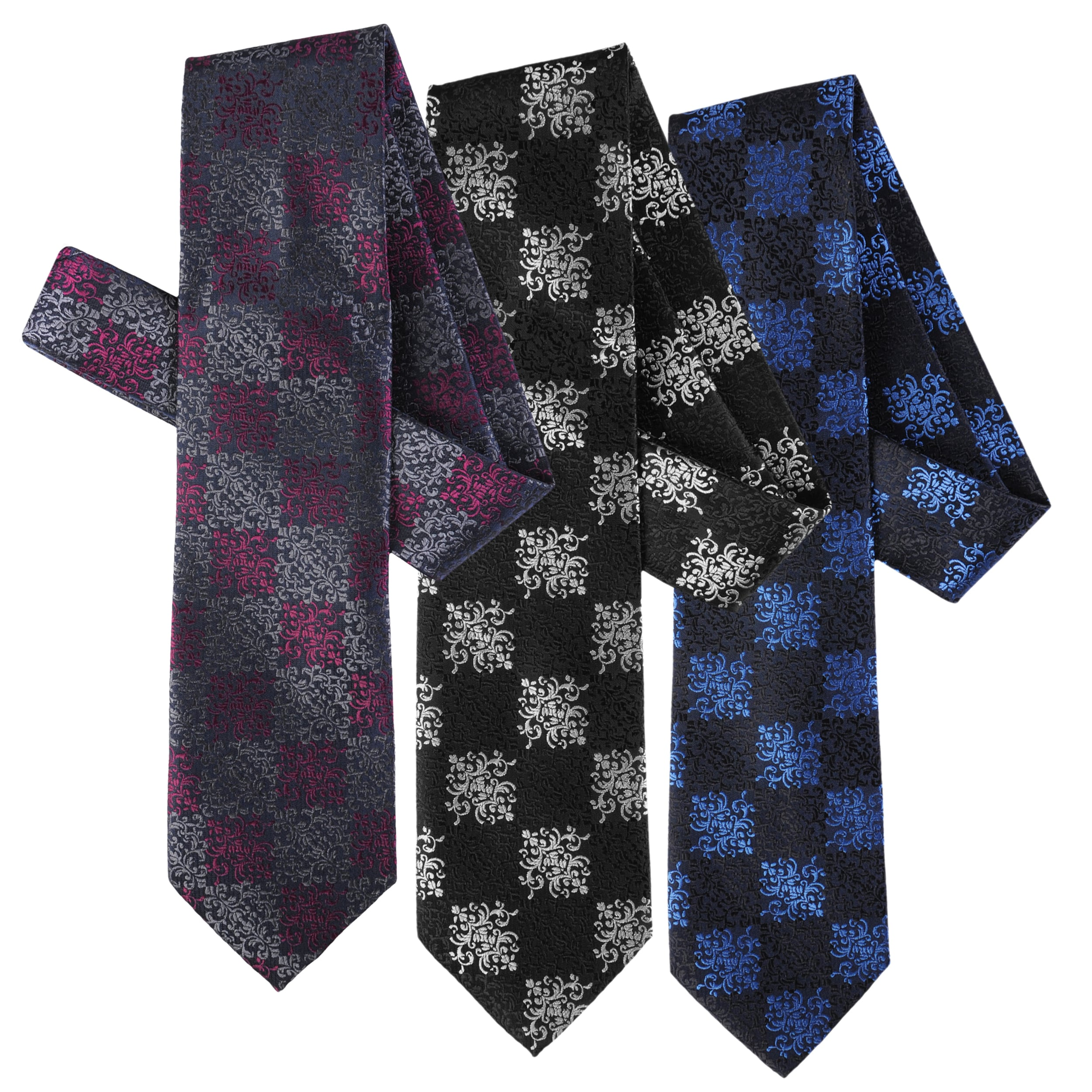 Boston Traveler Men's Scroll Pattern Microfiber Tie and Hanky Set