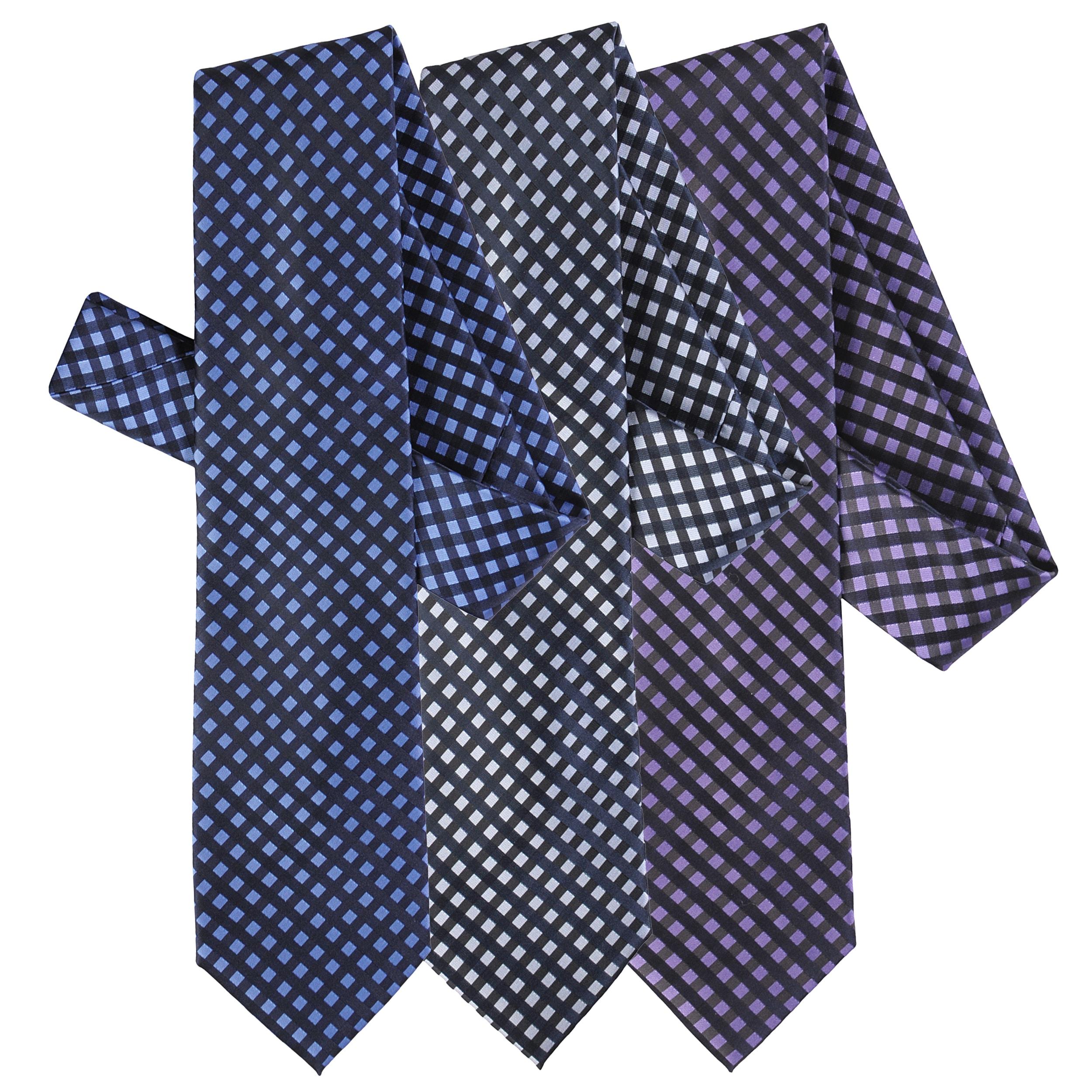 Boston Traveler Men's Window Pane Print Microfiber Tie and Hanky Set