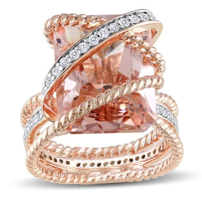 Miadora 18k Gold over Sliver Morganite and 1/3ct TDW Diamond Ring (H-I, I1-2)