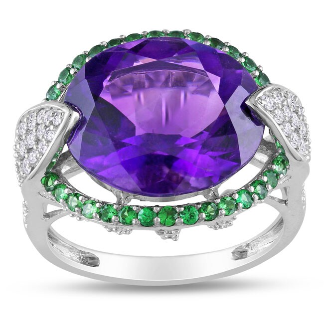 Miadora 14k Gold Amethyst, Tsavorite and 1/2ct TDW Diamond Ring (H-I, SI1-SI2)