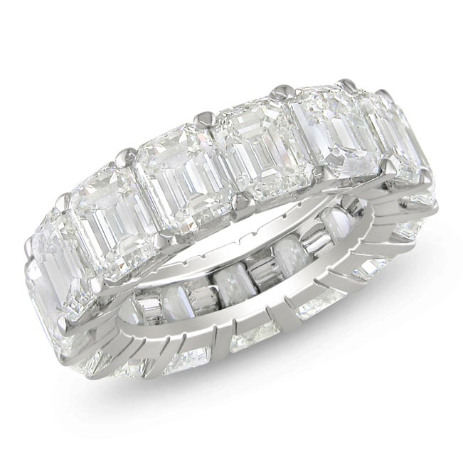 Miadora 18k White Gold 10 3/4ct TDW Emerald-cut Diamond Ring (D-E, VVS1-VVS2) - Thumbnail 0