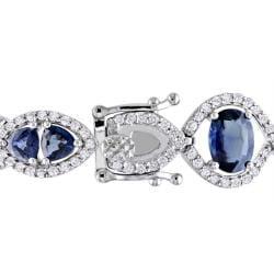 Miadora 14k White Gold Sapphire and 2ct TDW Diamond Bracelet (H-I, SI1) - Thumbnail 1