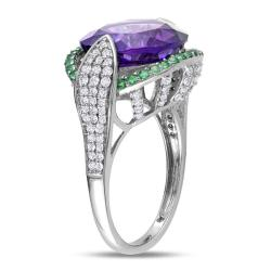 Miadora 14k Gold Amethyst, Tsavorite and 1/2ct TDW Diamond Ring (H-I, SI1-SI2) - Thumbnail 1
