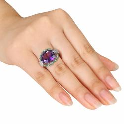Miadora 14k Gold Amethyst, Tsavorite and 1/2ct TDW Diamond Ring (H-I, SI1-SI2) - Thumbnail 2