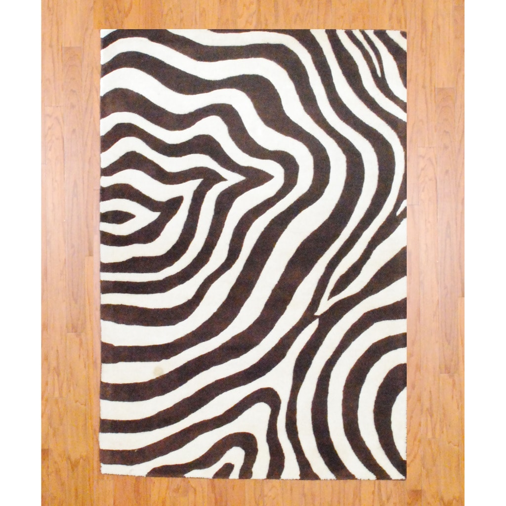 Shop Indo Hand Tufted Zebra Print Brown Ivory Wool Rug 4