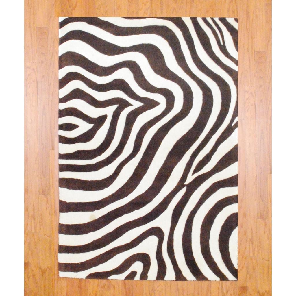 Shop Indo Hand Tufted Zebra Print Brown Ivory Wool Rug 4