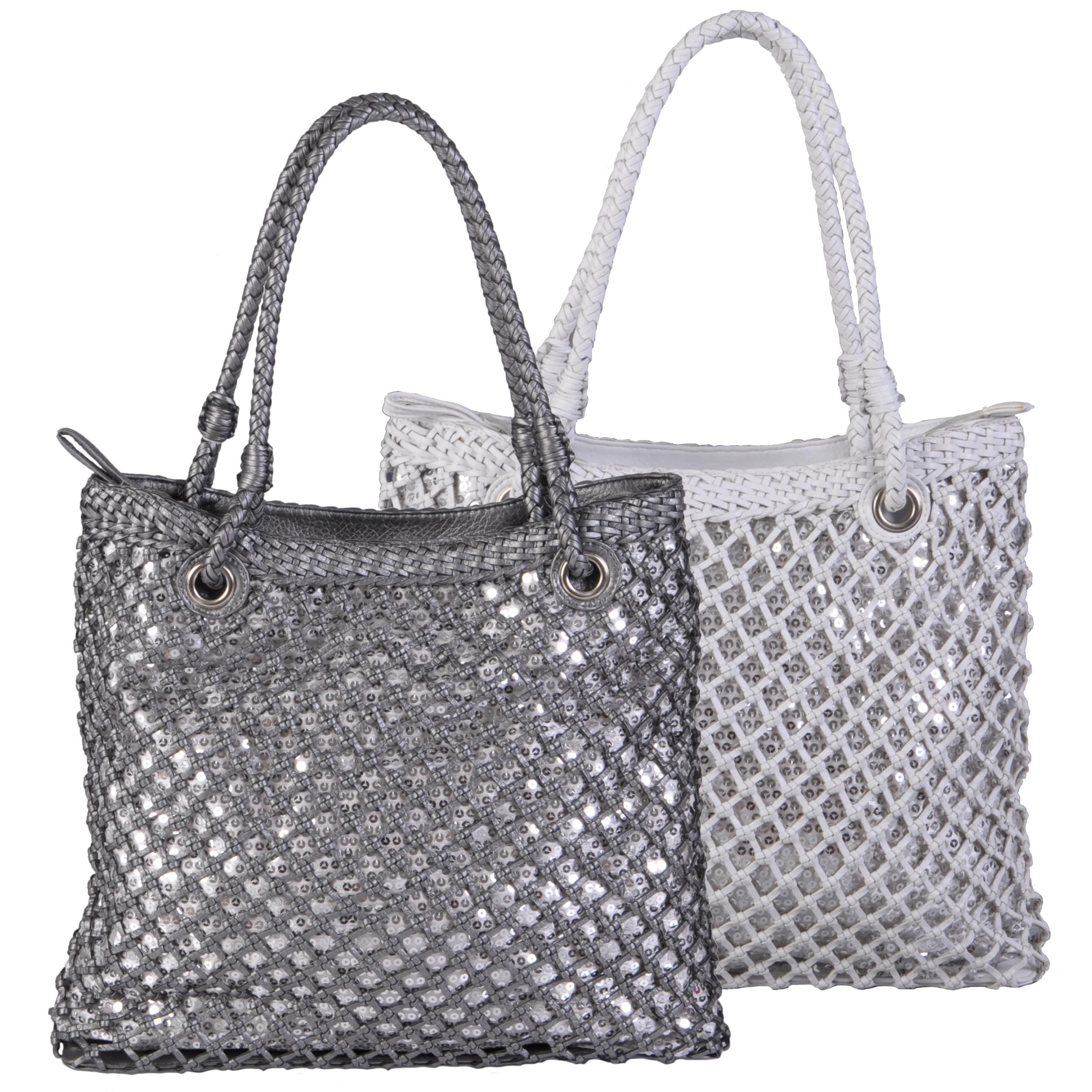 Journee Collection Women's Basket Weave Sequined Zipper Top Bag