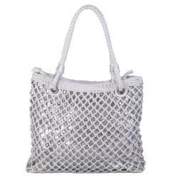 Journee Collection Women's Basket Weave Sequined Zipper Top Bag - Thumbnail 1