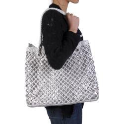 Journee Collection Women's Basket Weave Sequined Zipper Top Bag - Thumbnail 2