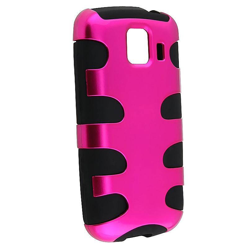 Hot Pink/ Black Fishbone Snap-on Case for LG Optimus S LS670