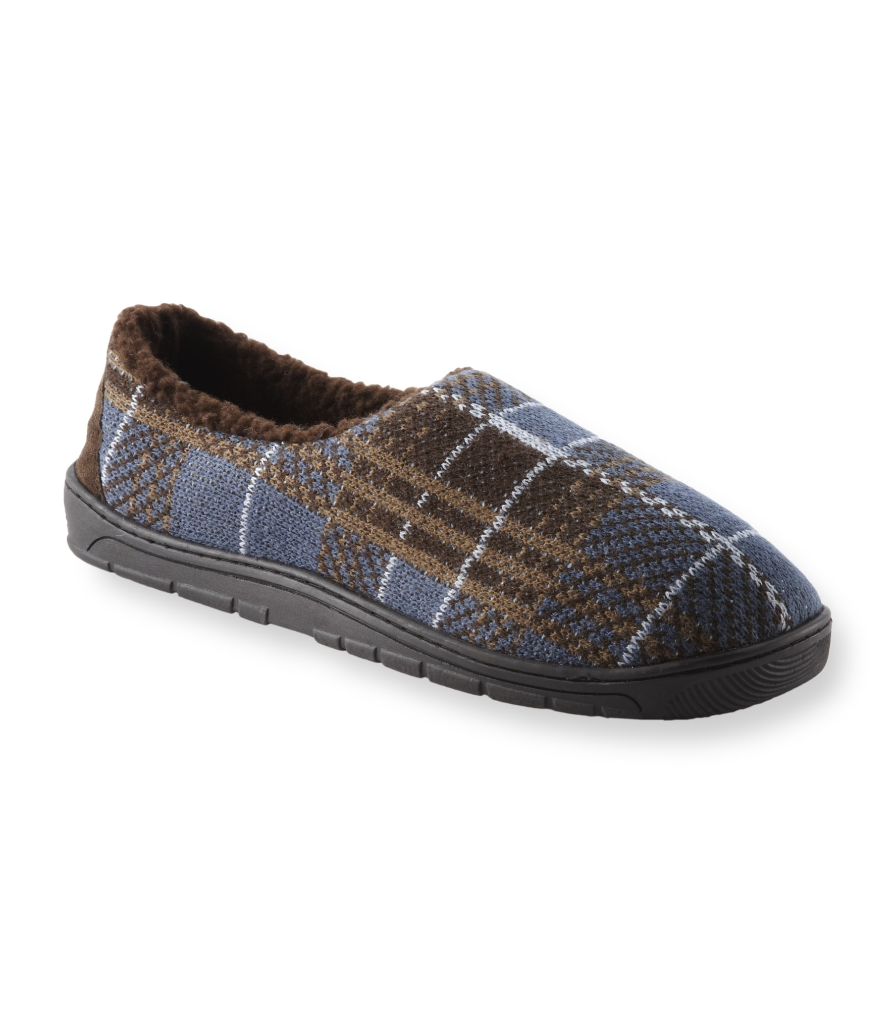 Muk Luks Men's 'Tom' Brown Plaid Knit Foot Slippers