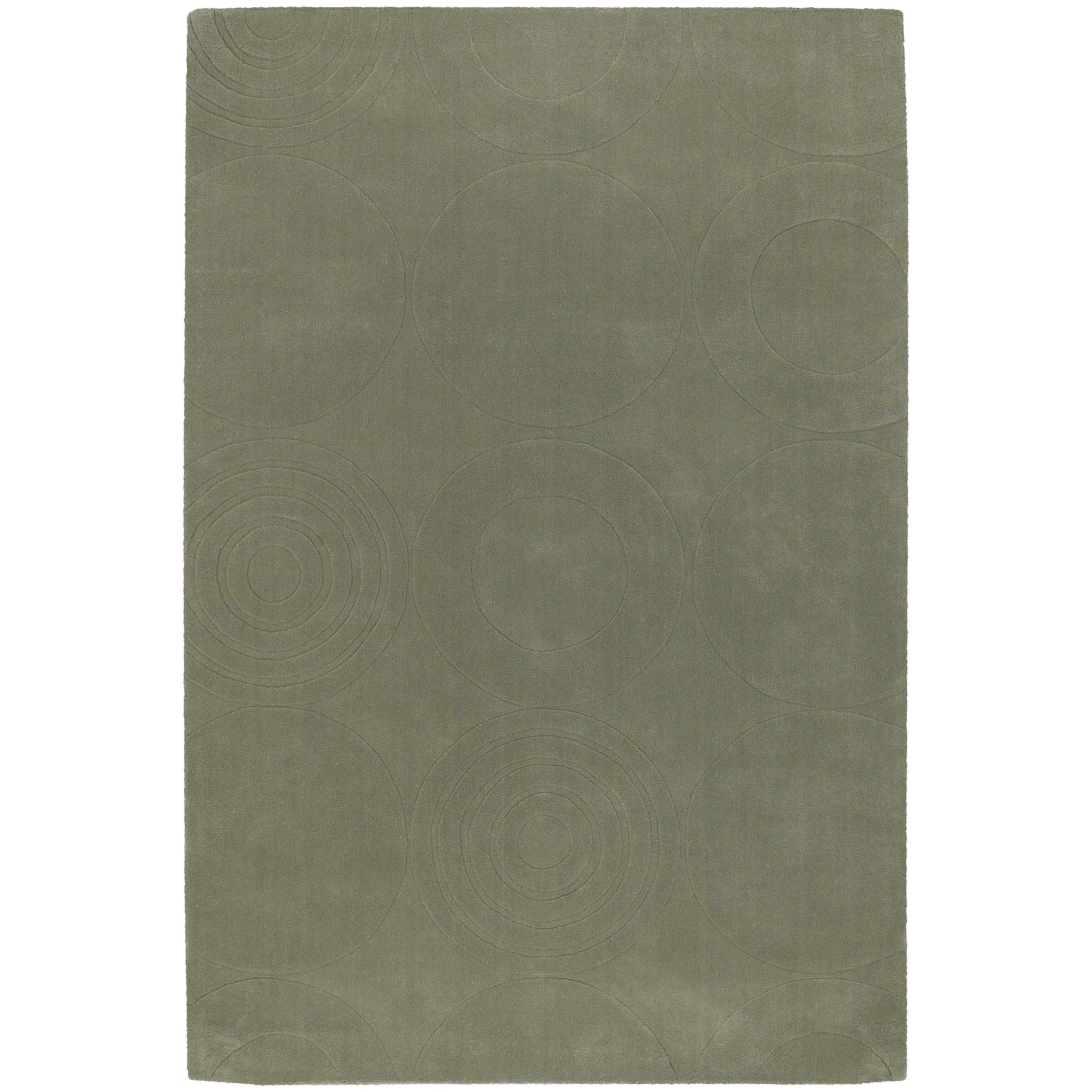 Hand-crafted Green Geometric Choro Wool Rug (5' x 8')