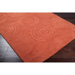 Hand-crafted Orange Geometric Claustro Wool Rug (3'3 x 5'3) - Thumbnail 1