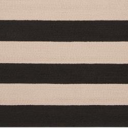 Hand-hooked Brown Snaring Indoor/Outdoor Stripe Rug (9' x 12') - Thumbnail 2