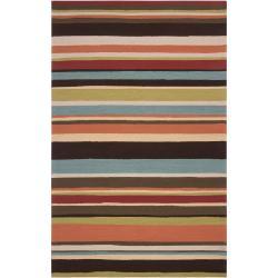 Hand-hooked Red Maren Indoor/Outdoor Stripe Rug (9' x 12')