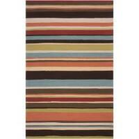 Hand-hooked Red Maren Indoor/Outdoor Stripe Area Rug (9' x 12') - 9' x 12'