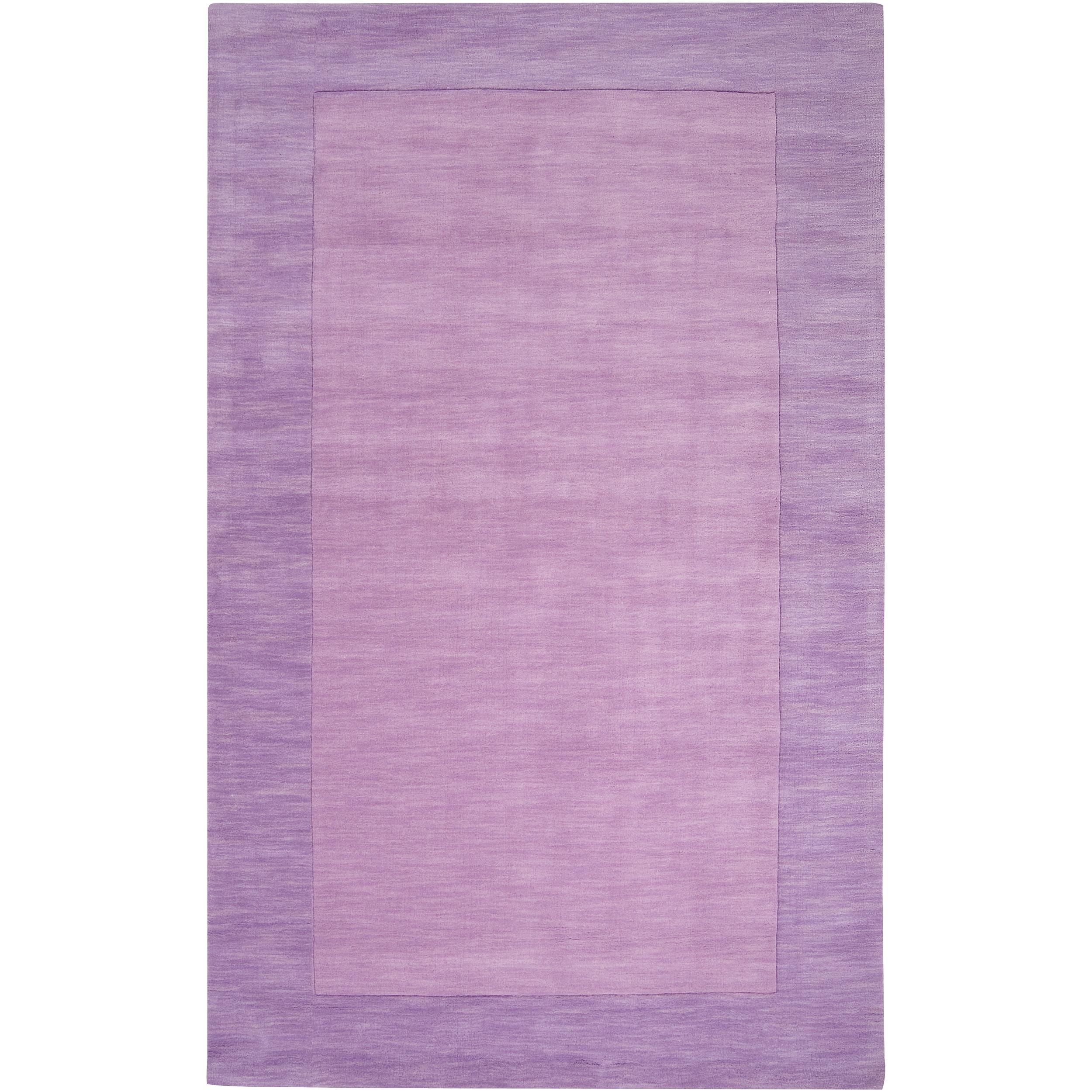Hand-crafted Purple Tone-On-Tone Bordered Emeto Wool Rug (3'3 x 5'3)