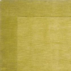 Hand-crafted Green Tone-On-Tone Bordered Eluro Wool Rug (9' x 13') - Thumbnail 1