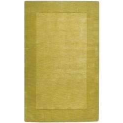 Hand-crafted Green Tone-On-Tone Bordered Eluro Wool Area Rug - 6' x 9' - Thumbnail 0