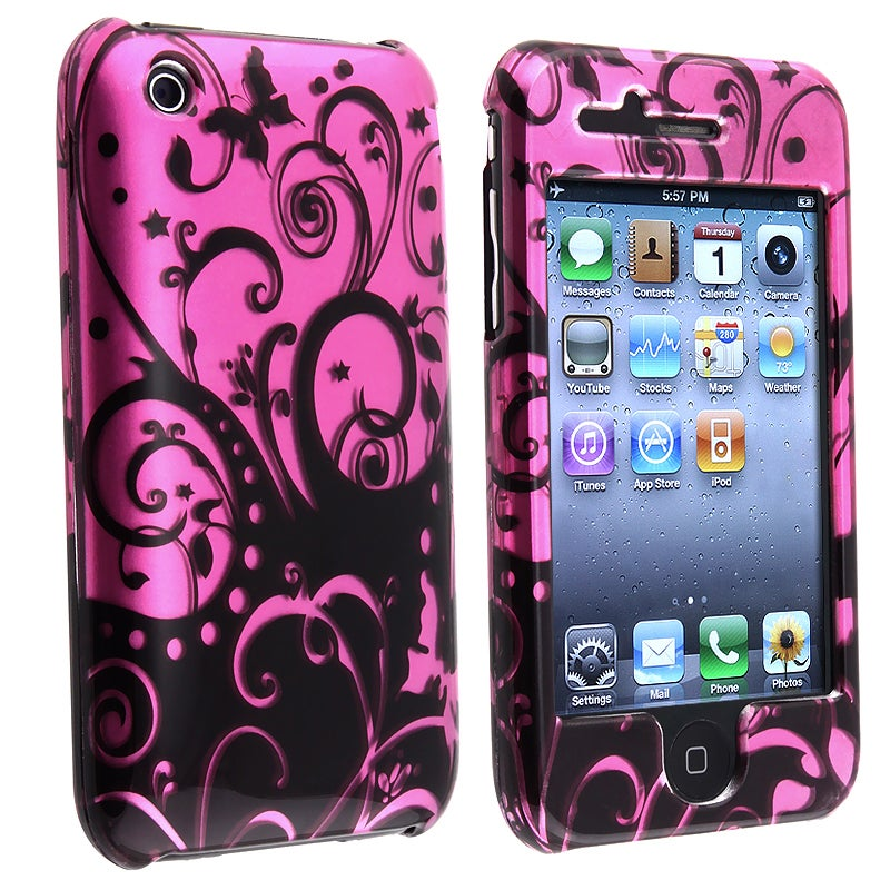 Purple/ Black Swirl Snap-on Case for Apple iPhone 3G/ 3GS - Thumbnail 0