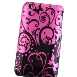 Purple/ Black Swirl Snap-on Case for Apple iPhone 3G/ 3GS - Thumbnail 2