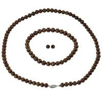 Sterling Silver Dyed Brown Freshwater Pearl Jewelry Set (6-6.5mm)