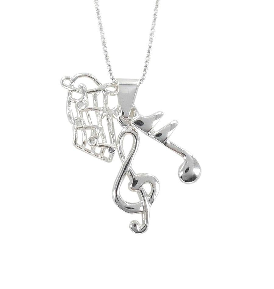 Sunstone Sterling Silver Music Note Trio Necklace