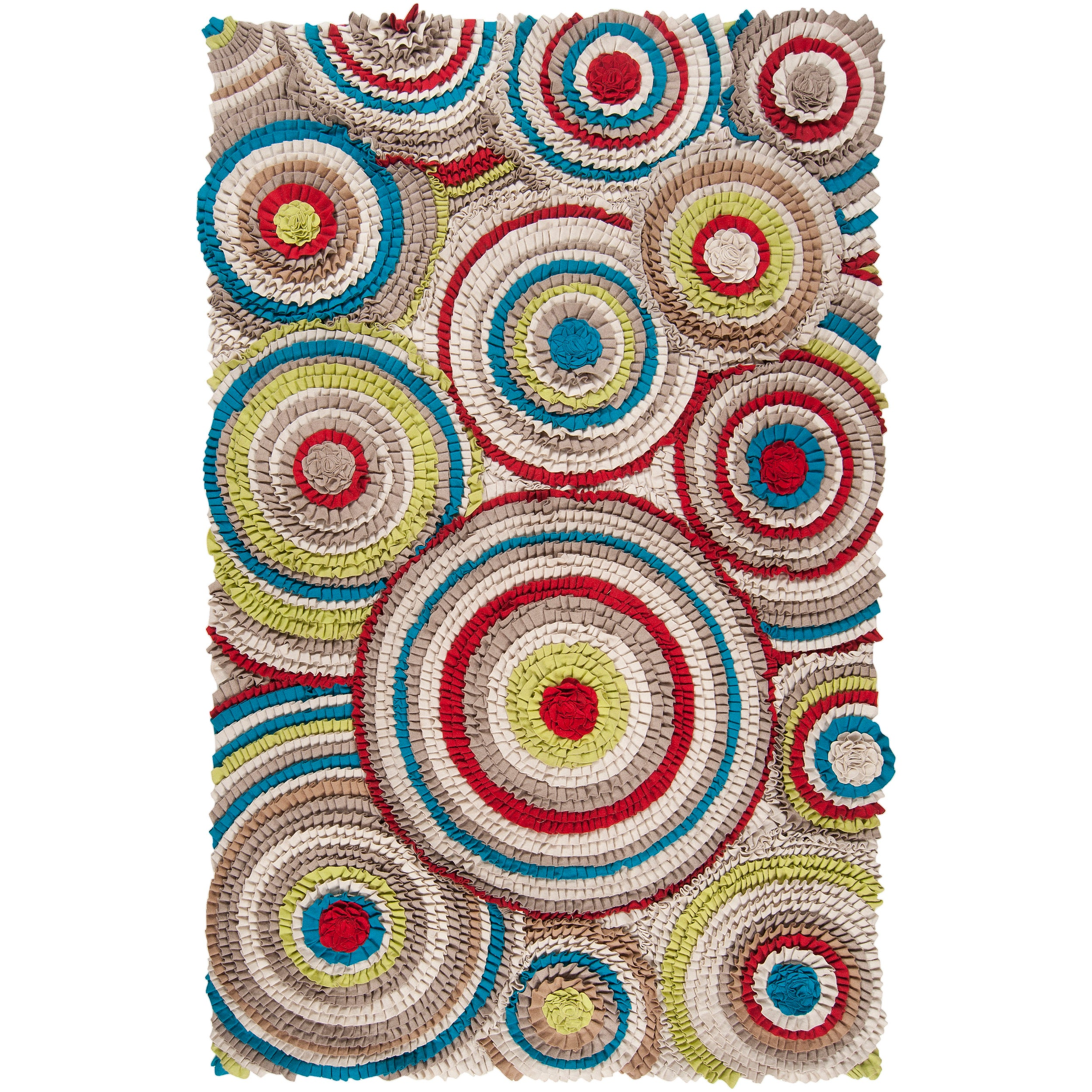 Hand-crafted Multi Colored Moral New Zealand Felted Wool Geometric TexturedRug (8'