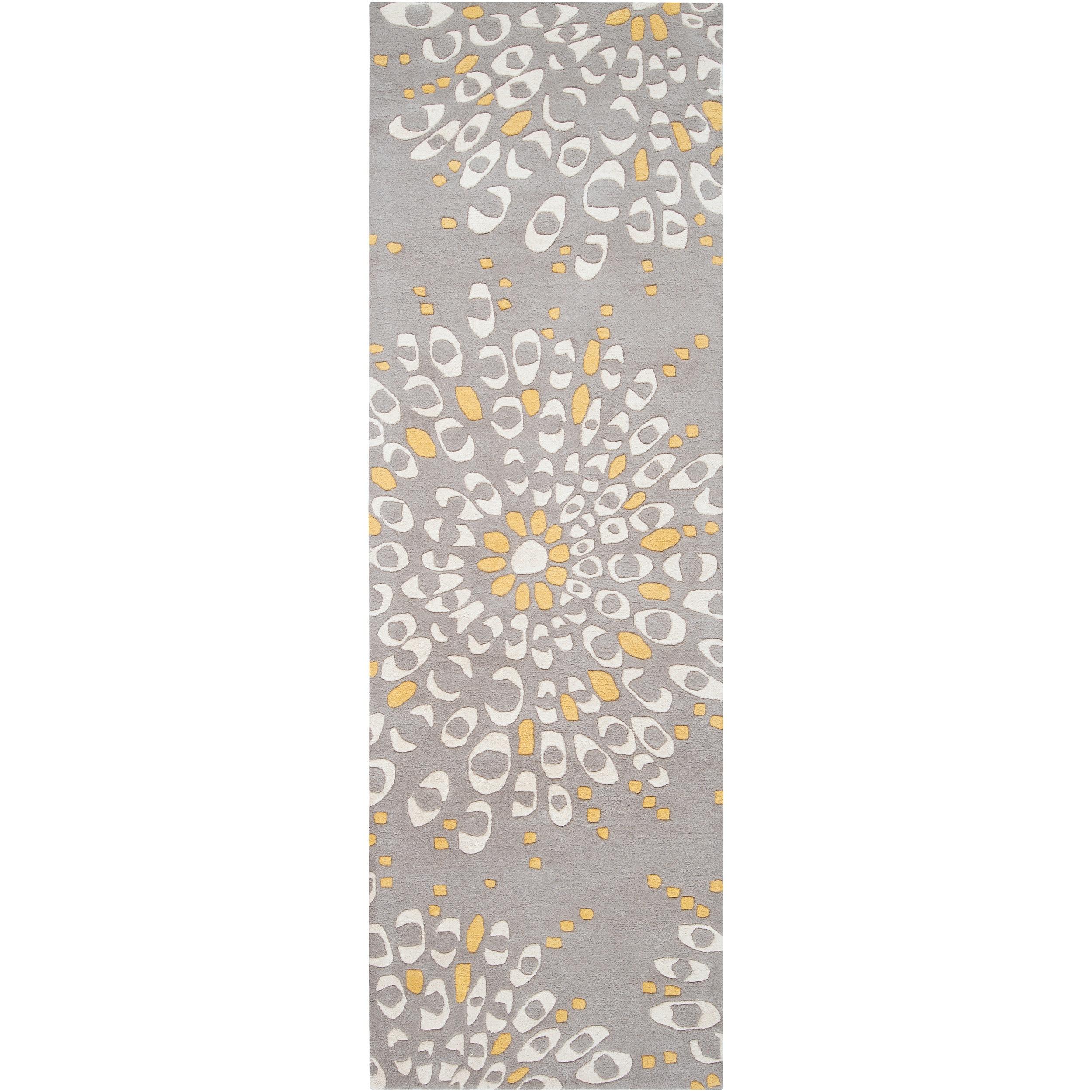 Hand-tufted Contemporary Gray Zandoline New Zealand Wool Abstract Rug (2'6 x 8')