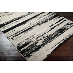 Meticulously Woven Contemporary Black/Grey Vintage Stripe Chimta Abstract Rug (5'3 x 7'3) - Thumbnail 1