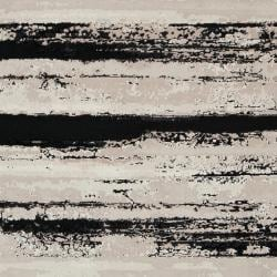 Meticulously Woven Contemporary Black/Grey Vintage Stripe Chimta Abstract Rug (5'3 x 7'3) - Thumbnail 2