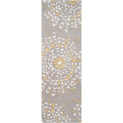 Hand-tufted Contemporary Gray Zandoline New Zealand Wool Abstract Rug (2'6 x 8')