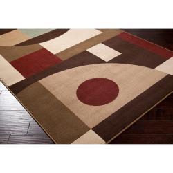 Woven Brown Stella Smith Geometric Shapes Rug (7'9 x 11'2) - Thumbnail 1