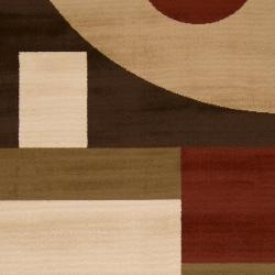 Woven Brown Stella Smith Geometric Shapes Rug (7'9 x 11'2) - Thumbnail 2