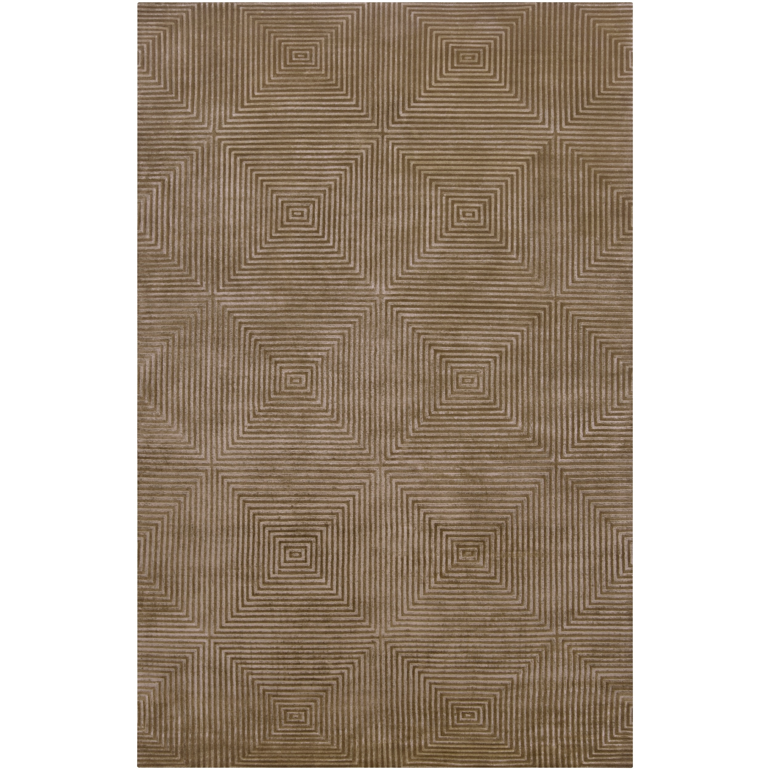 Hand-knotted Green Aviato Geometric Wool Rug (4' x 6')