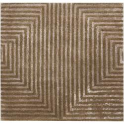 Hand-knotted Green Aviato Geometric Wool Rug (4' x 6') - Thumbnail 2