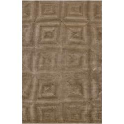Hand-knotted Green Aviato Geometric Wool Area Rug - 4' x 6' - Thumbnail 0