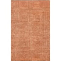 Hand-knotted Orange Arseno Geometric Wool Area Rug (9' x 13') - 9' x 13'
