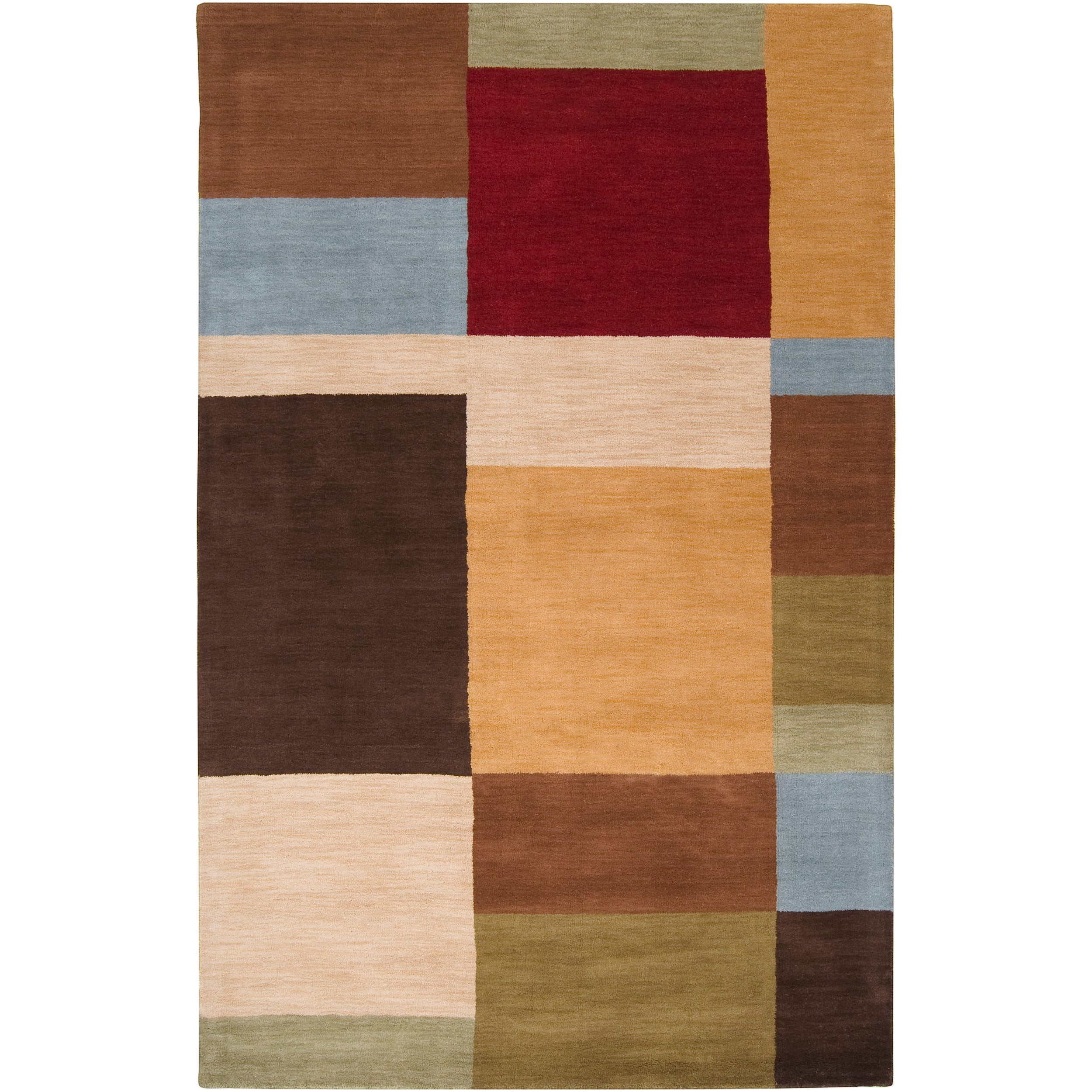 Hand-tufted Contemporary Multi Colored Squares Automaton Wool Geometric Rug (9' x 13')