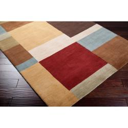 Hand-tufted Contemporary Multi Colored Squares Automaton Wool Geometric Rug (9' x 13') - Thumbnail 1