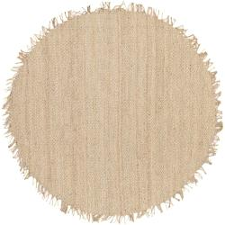 Hand-woven White Agraph Natural Fiber Jute Area Rug (6' Round)