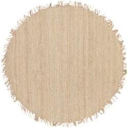Hand-woven White Agraph Natural Fiber Jute Area Rug - 6'
