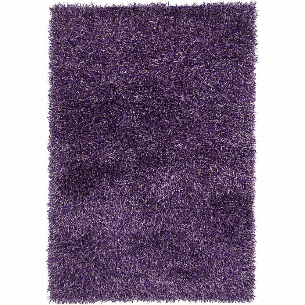 Hand-woven Mandara Purple Shag Rug (7'9 x 10'6)