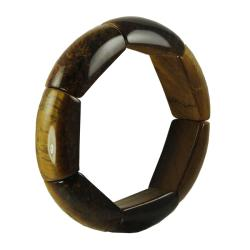 Gems For You Tiger's Eye Bamboo-style Stretch Bracelet