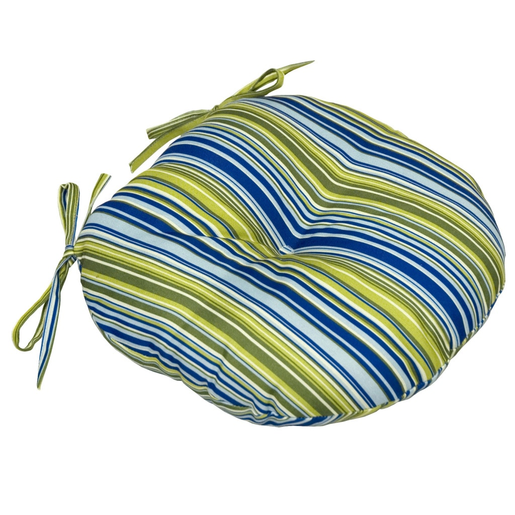 Poolside Stripe 15-inch Round Outdoor Bistro Chair Cushion (Set of 2) - Thumbnail 0