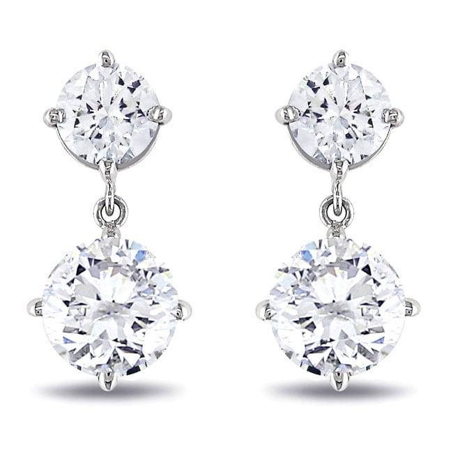 Miadora 18k White Gold 2 1/10ct TDW Diamond Earrings