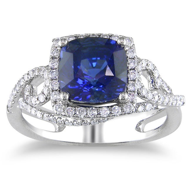 Miadora 18k White Gold Sapphire and 1/2ct TDW Diamond Ring (G-H, SI1-SI2)